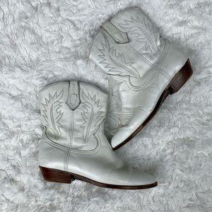 Cowboy Ankle Boots Sz 7.5 White